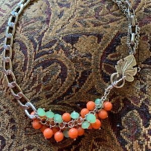 Awesome mid-century glass bead & chain necklace